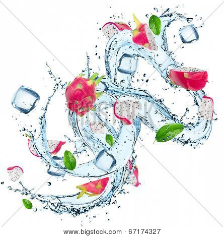Fresh fruit with water splash over white background