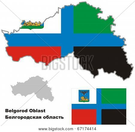 Outline Map Of Belgorod Oblast With Flag