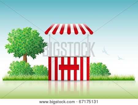Vector illustration of a stall in nature.