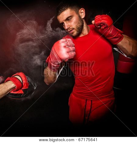 personal trainer man coach and man exercising boxing in the gym