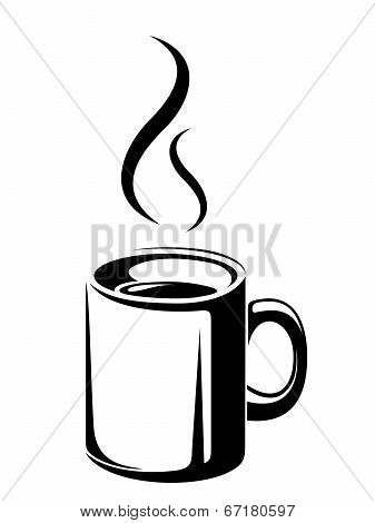Cup of tea or coffee. Vector black silhouette.
