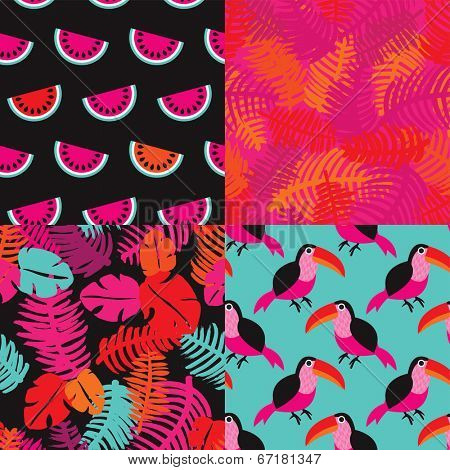 Seamless summer toucan birds and brazil jungle flowers leafs and fruit illustration background pattern in vector