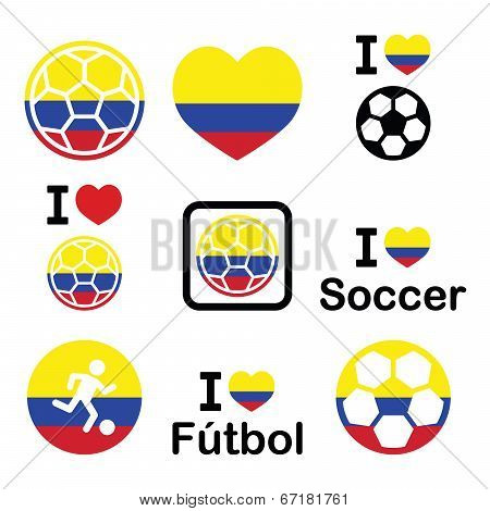 I love Columbian football, soccer icons set
