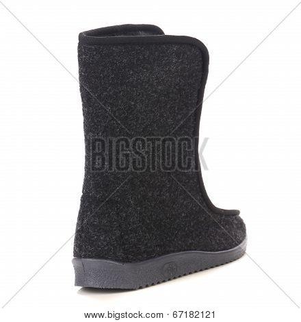 Black felt boot.