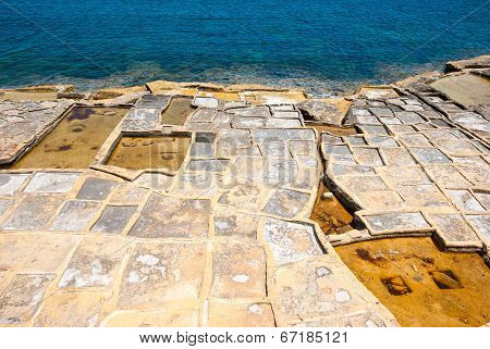 Evaporation Ponds At The Coast, Malta
