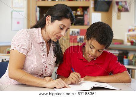 Teacher and schoolboy in class
