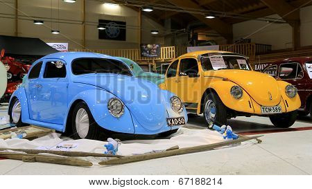 Two Volkswagen Beetle Retro Cars