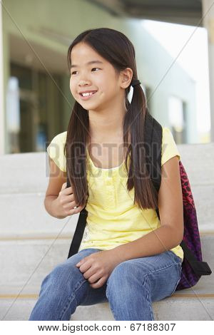 Pre teen girl at school