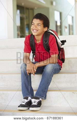 Pre teen boy at school