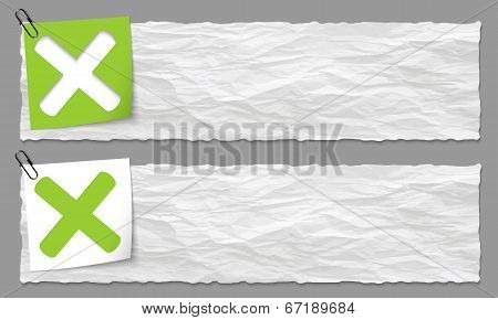 Set Of Two Banners With Crumpled Paper And Ban Symbol