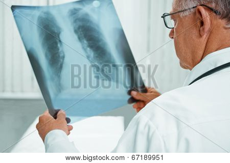 Unrecognizable Older Doctor Is Analyzing X-ray Image