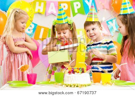 Happy Kids Celebrating Birthday Party
