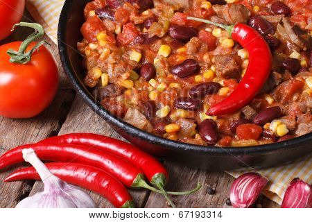 Chili Con Carne Close-up In A Pan With The Ingredients.