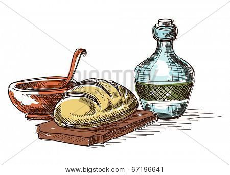 Food and drink composition, still life decoration