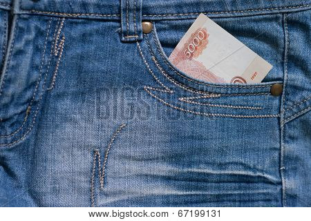 Five Thousand Ruble Note in the pocket of jeans