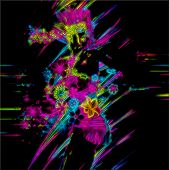 stock photo of swagger  - This abstract digital art image is a punk girl in neon and floral against a black background - JPG