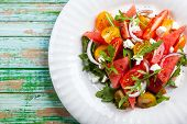 picture of rocket salad  - Tomato and Watermelon Salad with Feta and balsamic sauce - JPG