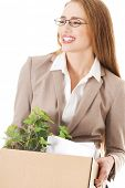 foto of box-end  - Beautiful business woman holding box with office items - JPG