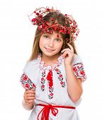 picture of national costume  - cute little girl in the national Ukrainian costume - JPG