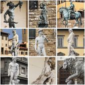 stock photo of alighieri  - Collage of renaissance statues in Florence - JPG