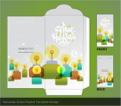image of hari raya aidilfitri  - Vector Flat Muslim Pelita Oil Lamp Ramadan Money Green Packet Design - JPG