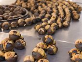 stock photo of brazier  - Roasted chestnuts on brazier on Istanbul street