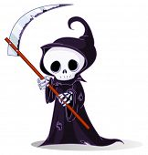 image of grim-reaper  - Cute cartoon grim reaper with scythe isolated on white - JPG