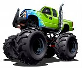 stock photo of bigfoot  - Cartoon Monster Truck isolated on white background - JPG