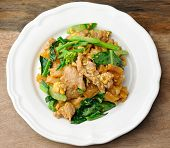 stock photo of gai  - Stir Fried Rice Noodle with pork and vegetable - JPG
