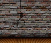 picture of gallows  - brick wall and shadow gallows and wood floor - JPG