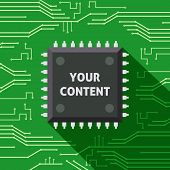 stock photo of cpu  - Your content microchip computer electronics cpu flat background vector illustration - JPG