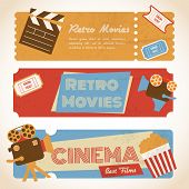 pic of popcorn  - Retro movie cinema ticket banners with vintage camera popcorn vector illustration - JPG