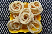stock photo of krishna  - Murukku is a traditional savory crunchy snack of Tamil Nadu - JPG