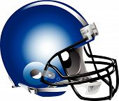 image of lineman  - Vector illustration of blue football helmet on white background - JPG