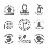 pic of firehouse  - Firefighting rescue and protection fire department firehouse extinguisher label set isolated vector illustration - JPG