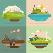 image of ecosystem  - Ecology Concept Vector Icons Set for Environment - JPG