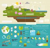 stock photo of environmental pollution  - Ecology Concept Vector Icons Set for Environment - JPG