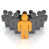 image of main idea  - Illustration of business team with leader  - JPG