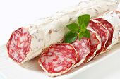 stock photo of charcuterie  - French Saucisson Sec  - JPG
