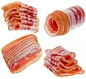 image of bacon strips  - Collection set of Bacon Slices isolated On White Background - JPG