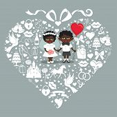 image of wedding feast  - Composition in the shape of heart with bow on top - JPG