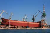 image of shipbuilding  - Ship during construction works in Pula Croatia - JPG