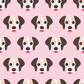 stock photo of spotted dog  - Seamless kids dalmatian puppy pattern cute dog illustration background pattern in vector - JPG