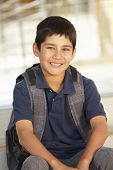 picture of pre-teen boy  - Pre teen boy in school - JPG