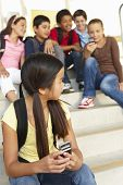 stock photo of pre-teen boy  - Girl being bullied in school - JPG