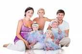 image of triplets  - Big happy family - JPG