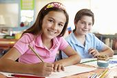 stock photo of pre-teen  - Pre teen children in art class - JPG