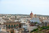 image of gozo  - View over Victoria Rabat biggest city of Gozo island Malta - JPG