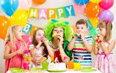 foto of clown face  - funny children and clown at birthday party - JPG