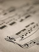 pic of musical scale  - Sheet of music notes, closeup for music, melody themes